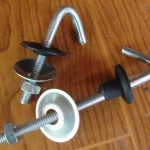 J bolt hook with washer and nut and rubber set assembled