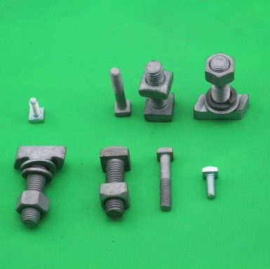 T head bolt with hex nut flat washer and spring washer assembled