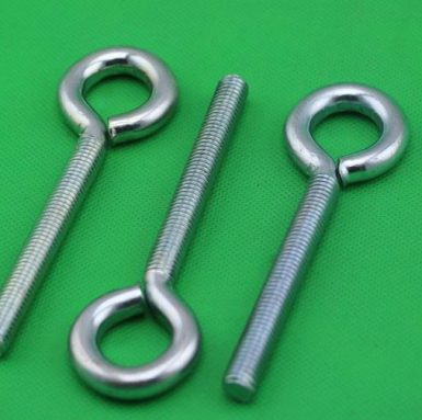 Low carbon steel eye bolt zinc plated white
